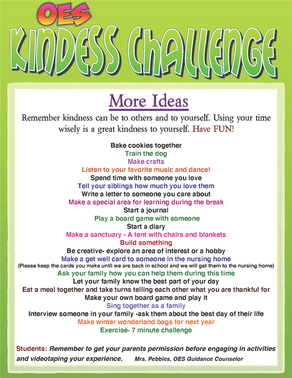 NEW* Kindness Challenge: More Ideas from our Guidance Counselor Mrs Pebbles Peterson