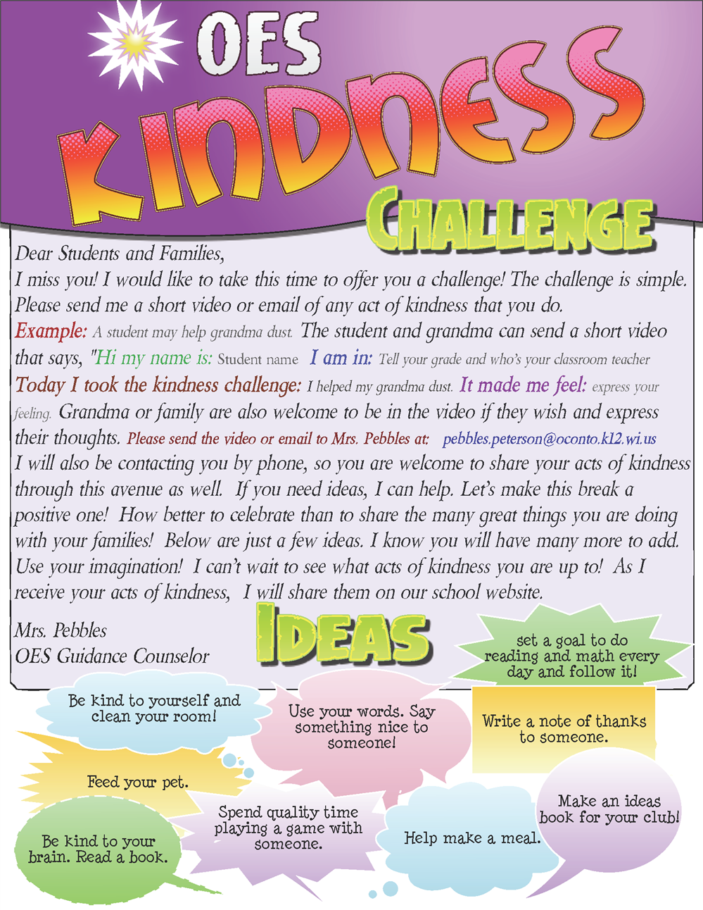 NEW*Kindness Challenge from Mrs Pebbles
