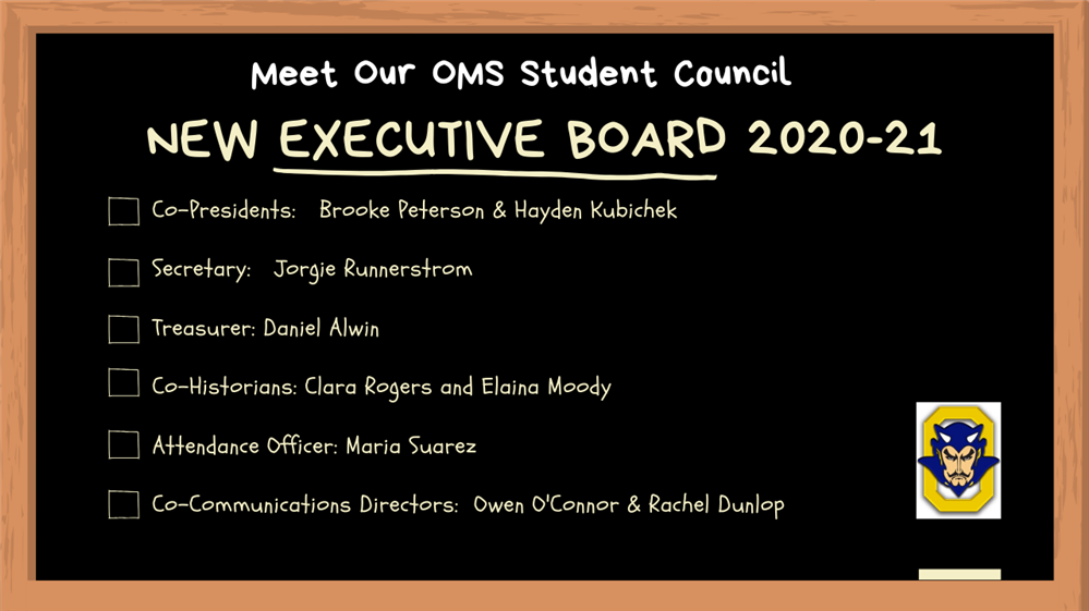 OMS Student Council Board Members for the Year 2020-21