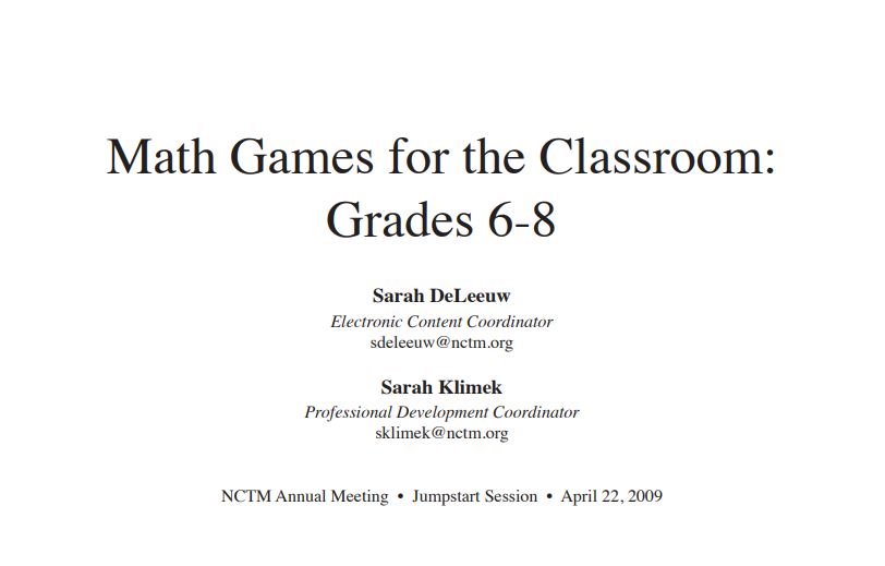 Title 1: Math Games for Skill Practice
