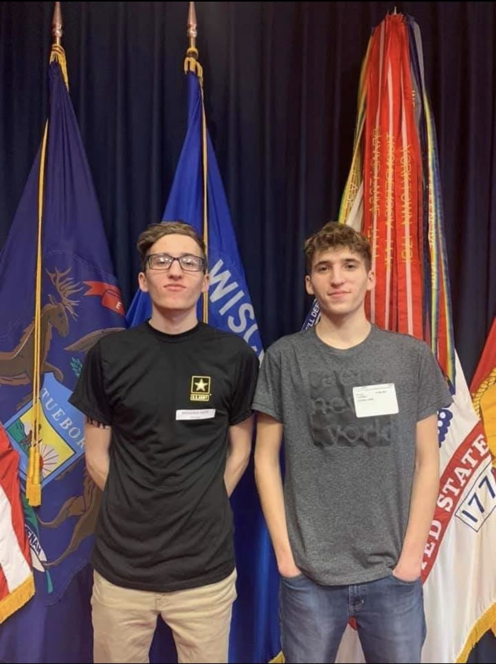Oconto High School twins join Army, receives enlistment oath from Space (April 8, 2020)