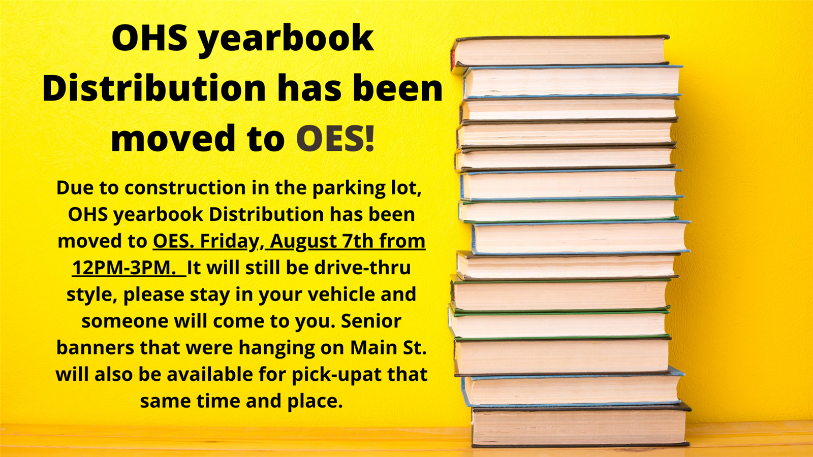 OHS YEARBOOK DISTRIBUTION UPDATE