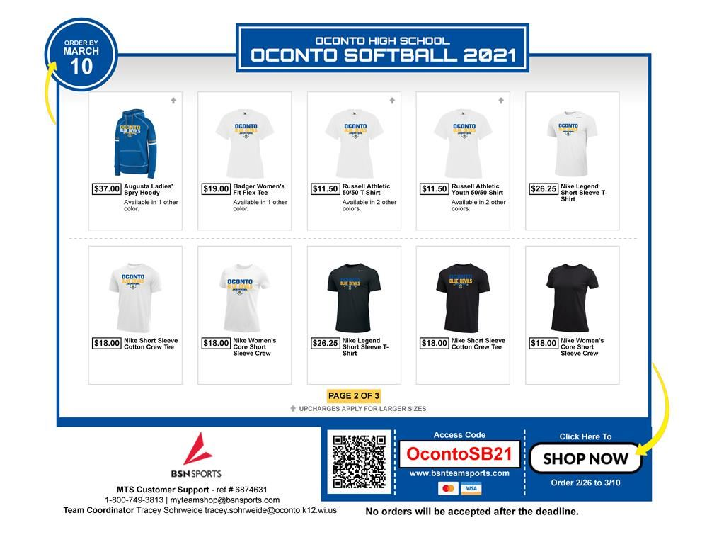 Oconto Softball store through BSN is open for the Spring of 2021!