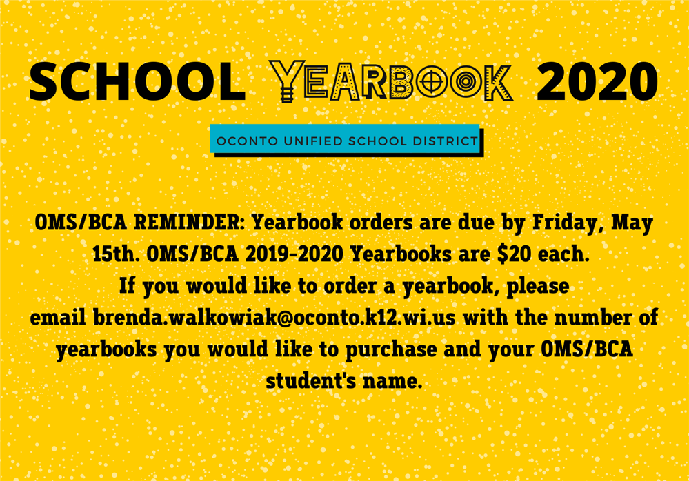 ORDER YOUR 2020 SCHOOL YEARBOOK!