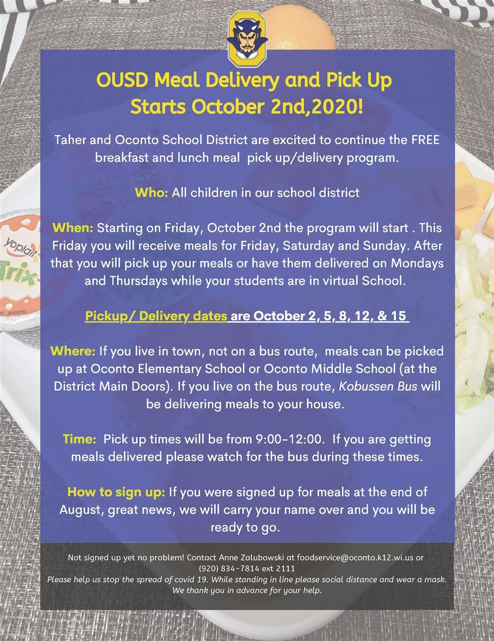 Meal Delivery and Pick Up Starts October 2nd