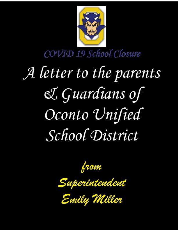 NEW * An open letter to the Parents and Guardians of OUSD by Superintendent Emily Miller (March 25, 2020)