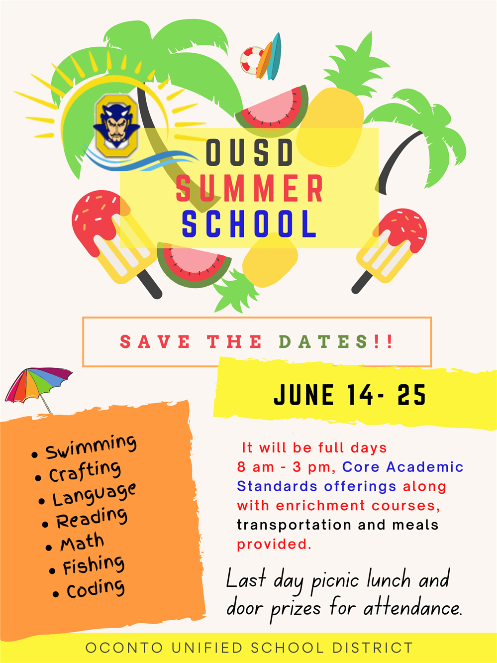 OUSD Academic and Enrichment  Summer School 2021!