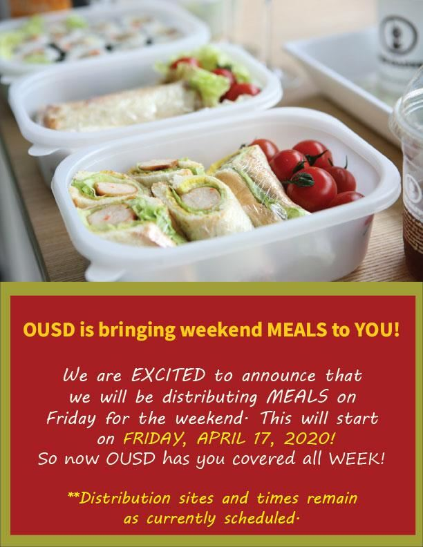 OUSD is bringing Weekend Meals to our kids and families (April 10, 2020)