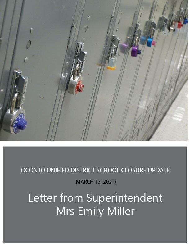 Oconto School Closure UPDATE: Superintendent Mrs Emily Miller (March 13, 2020)