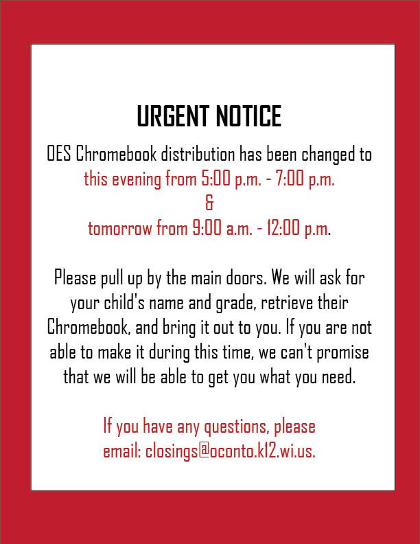 NEW* Urgent NOTICE on OES Chromebook Distribution (March 20,2020)